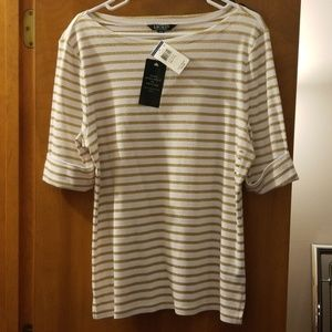 White/Gold Striped 3/4 Sleeve Shirt
